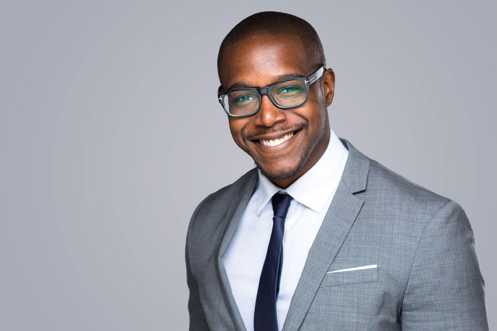young african american male lawyer with glasses